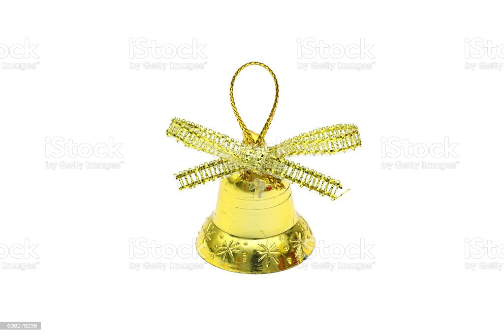 Isolated gold christmas bell toy on white background stock photo