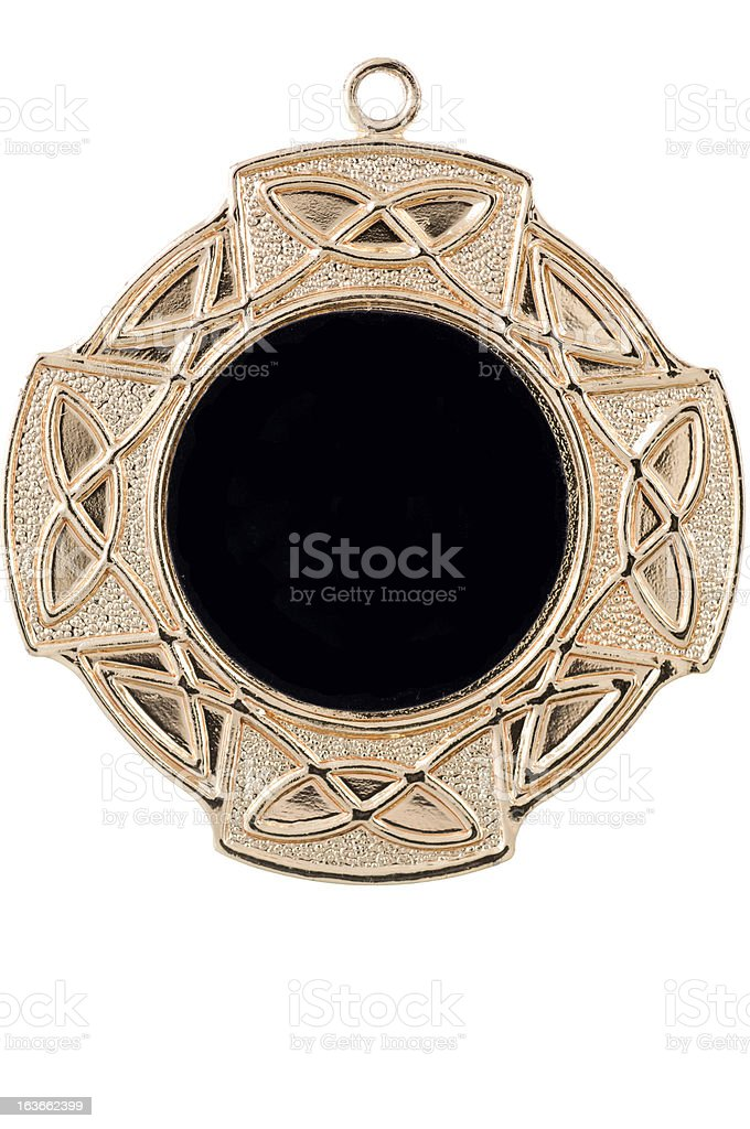 Isolated gold medal with celtic ornament royalty-free stock photo