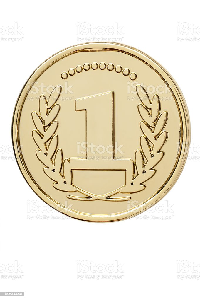 Isolated gold medal with number 1 stock photo
