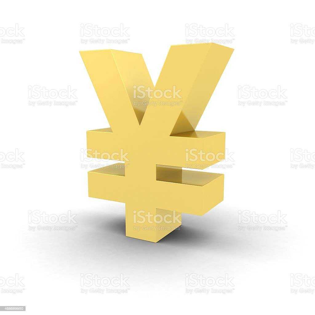 Isolated Gold Yen Symbol stock photo