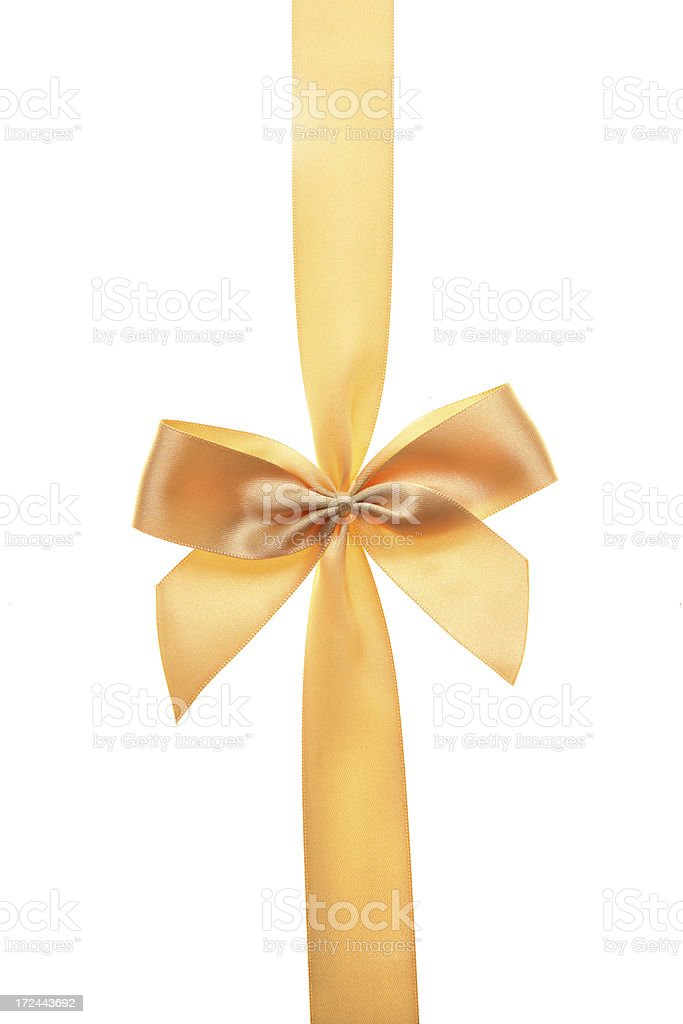 Isolated golden bow royalty-free stock photo