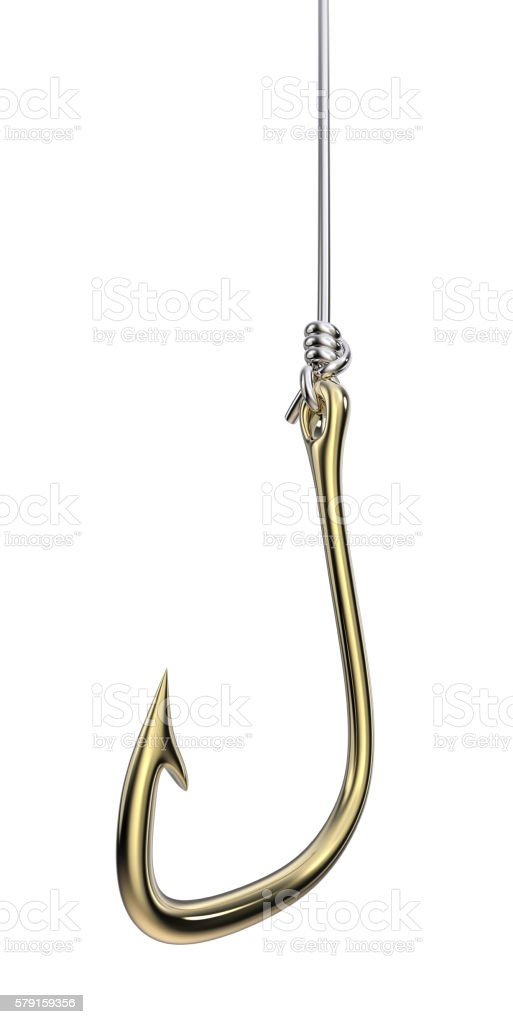Isolated Golden Fishing Hook and Silver Line. stock photo