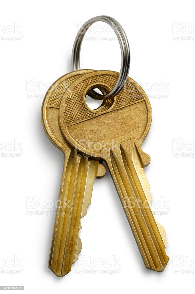 Isolated Golden key on White with Clipping Path stock photo