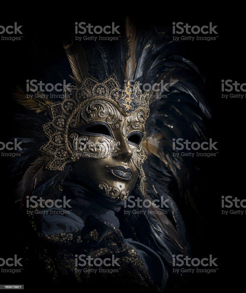 isolated golden venetian mask royalty-free stock photo