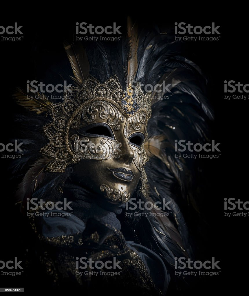 isolated golden venetian mask stock photo
