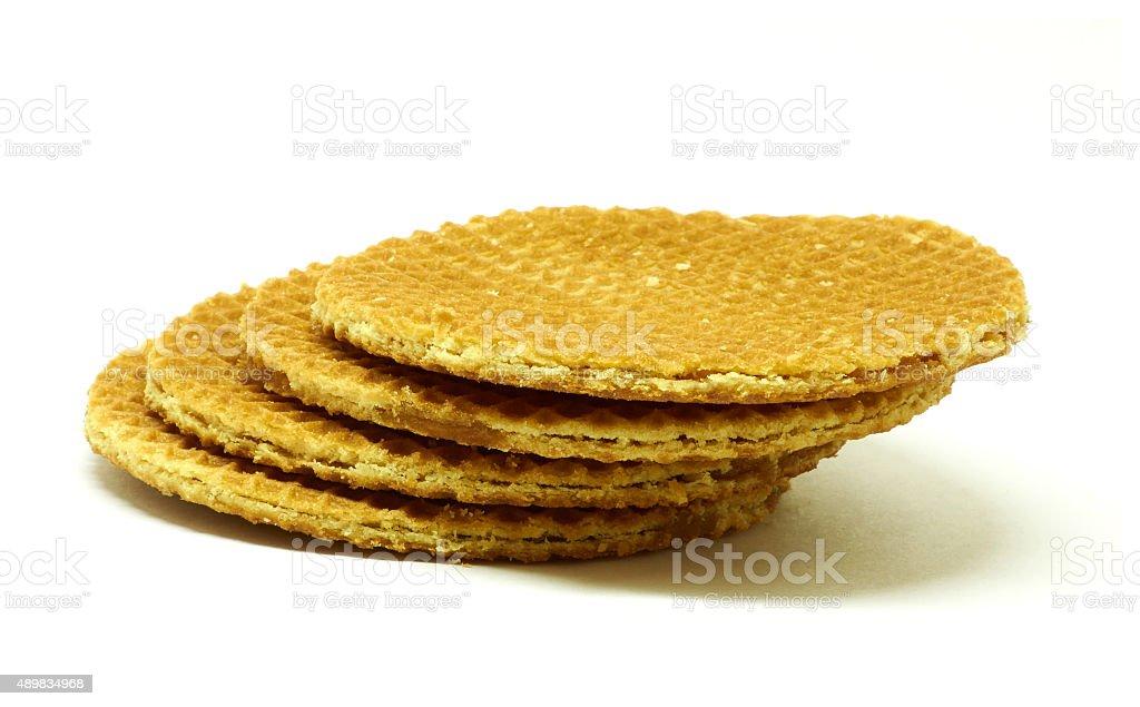 Isolated golden waffle stock photo
