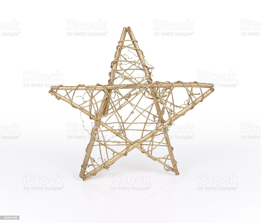 Isolated golden wicker Christmas star stock photo