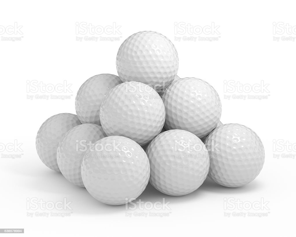 Isolated golf ball pyramide stock photo