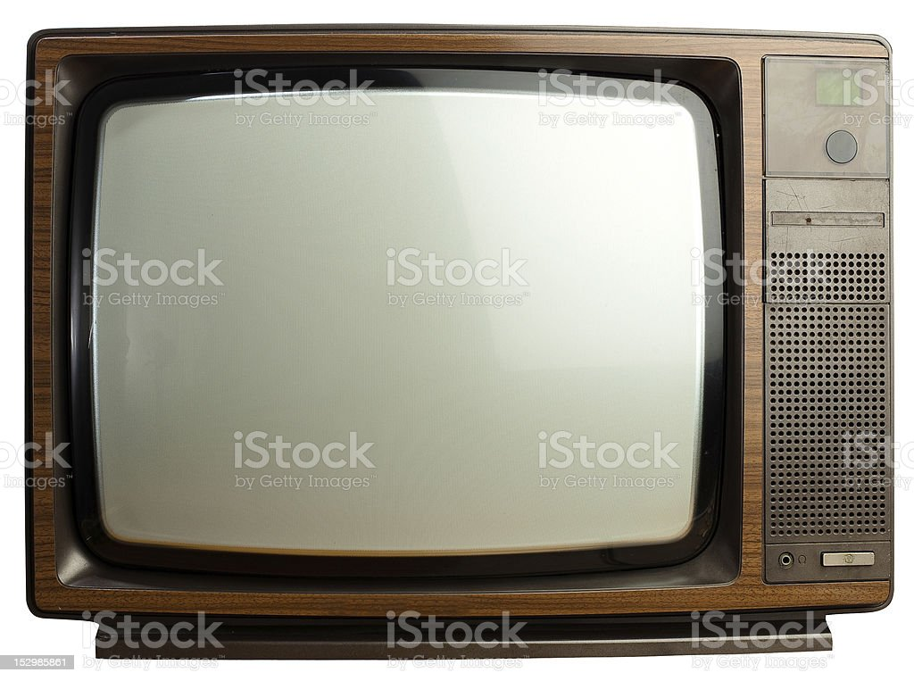 Isolated good looking vintage tv on white background stock photo