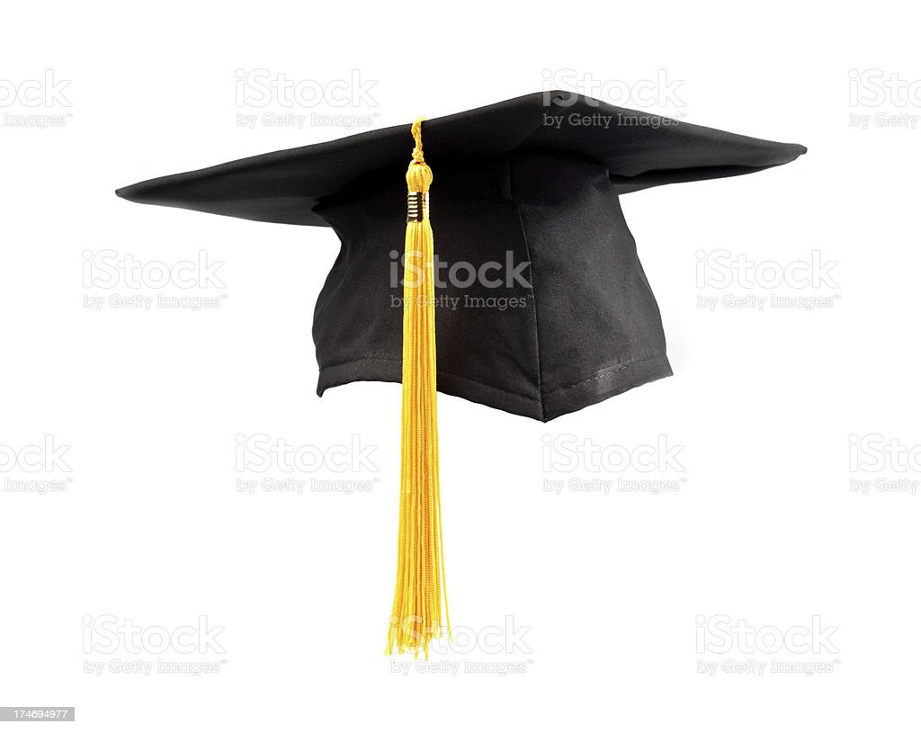isolated graduation cap and tassel stock photo