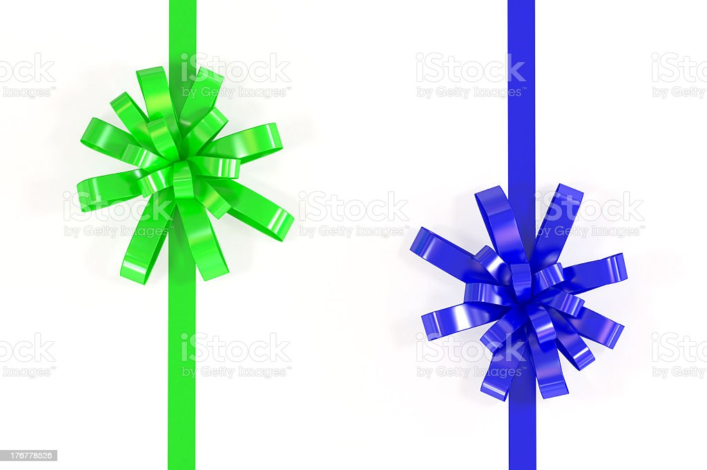 Isolated Green and Blu Ribbon on White Background royalty-free stock photo