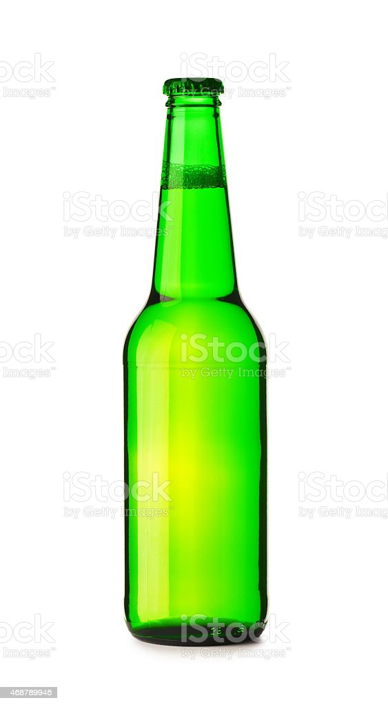 isolated green bottle  of beer stock photo