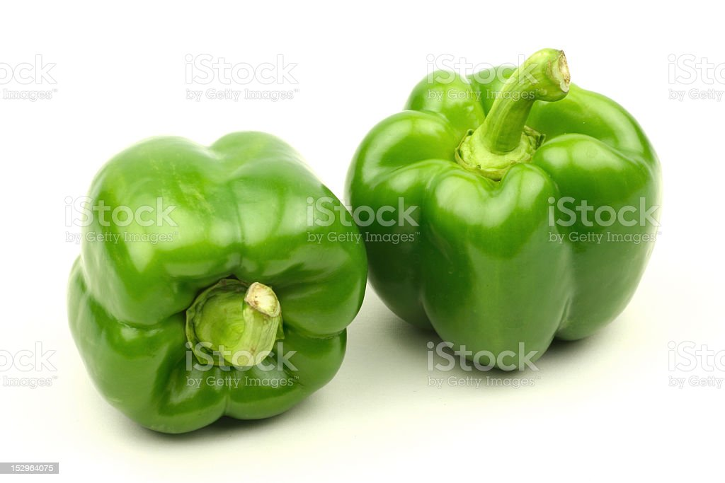 Isolated green capsicum couple stock photo