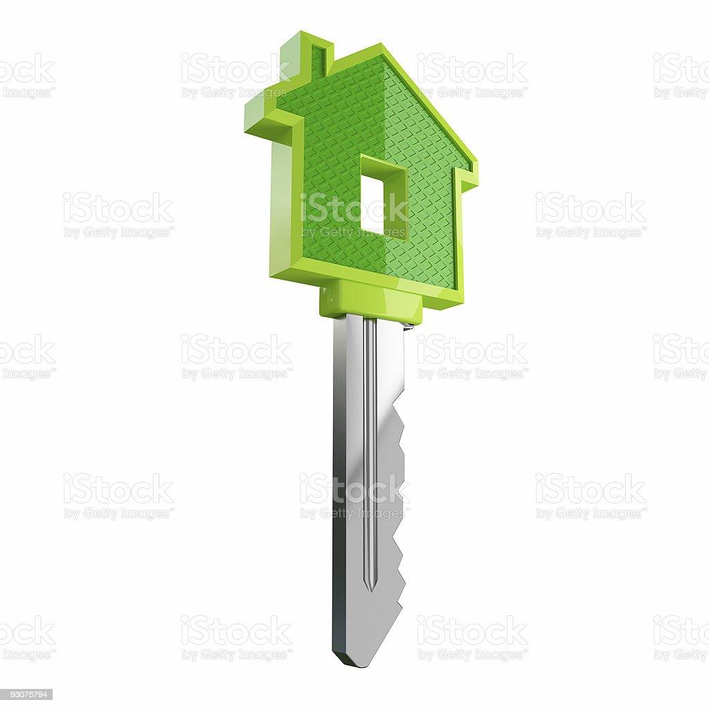 isolated green eco house key royalty-free stock photo