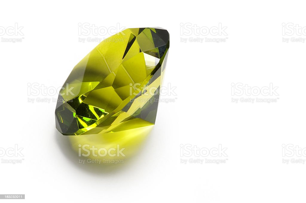 Isolated Green Gem w/ Clipping Path stock photo
