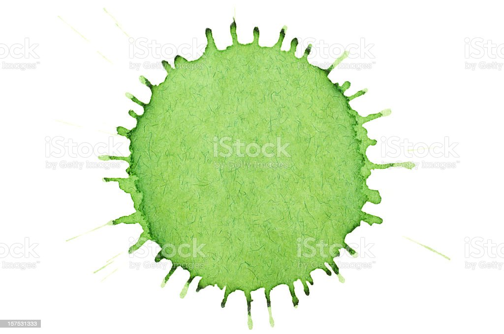 Isolated green ink splatter closeup royalty-free stock photo