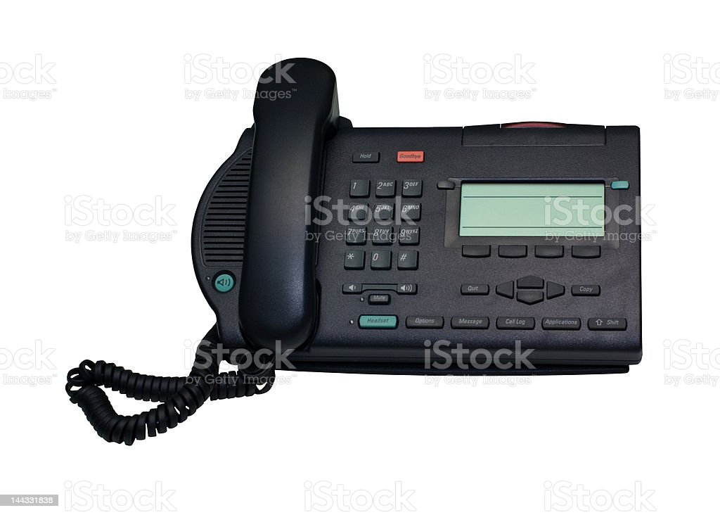 Isolated Grey Desk Phone With Clipping Path stock photo