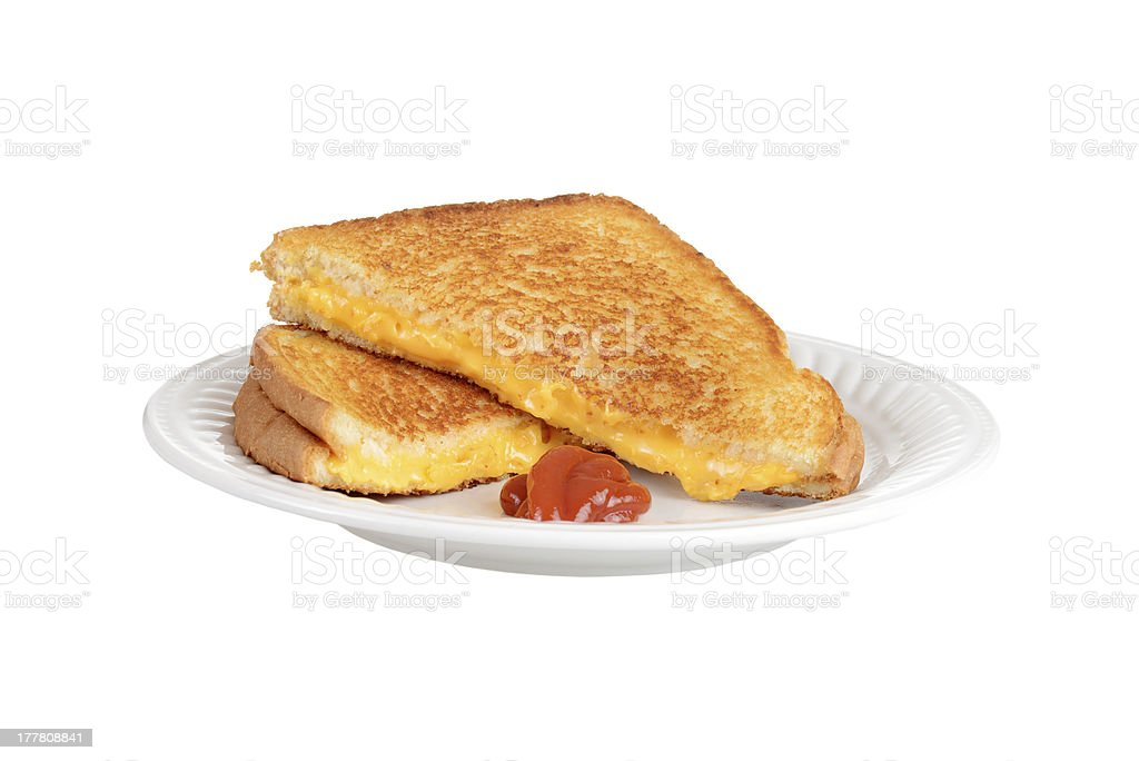 Isolated grilled cheese on a plate stock photo