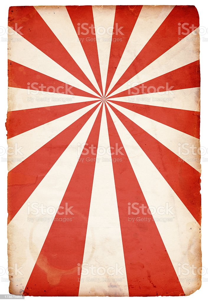 Isolated Grungy Red and White Retro Burst Paper XXXL royalty-free stock photo