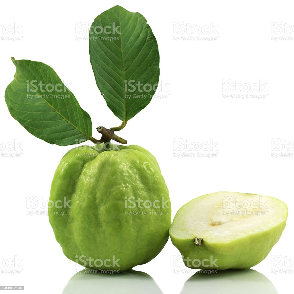 isolated guava on white background stock photo