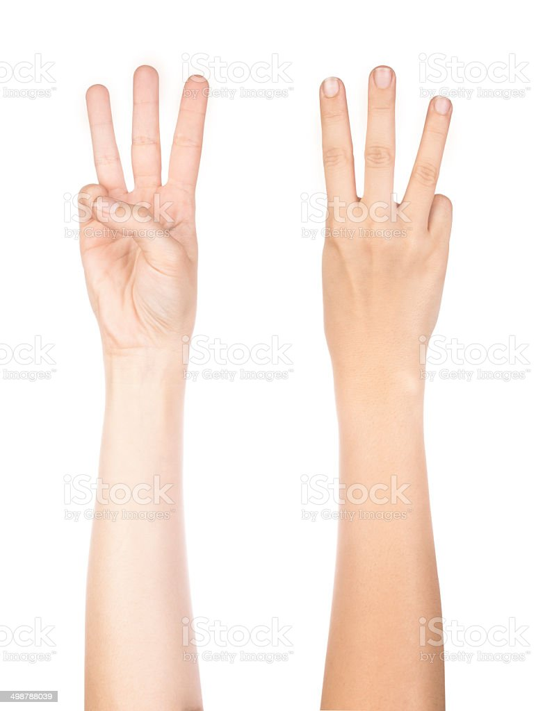 isolated hand number 3 stock photo