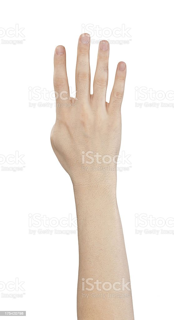 isolated hand, number four royalty-free stock photo