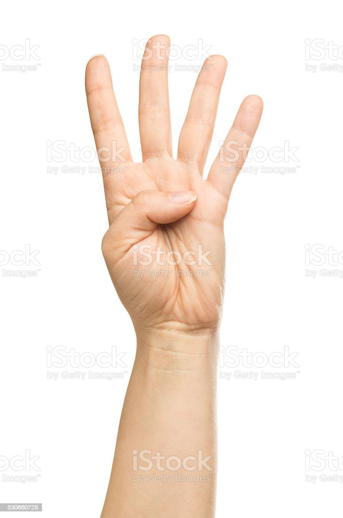 isolated hand, number four stock photo