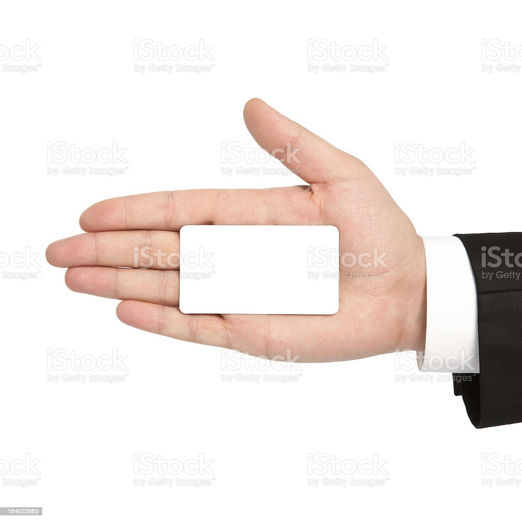 isolated hand of a businessman holding white business card royalty-free stock photo