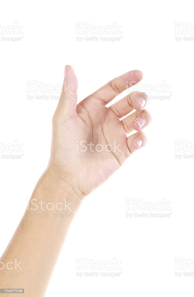 Isolated hand reaching for something stock photo