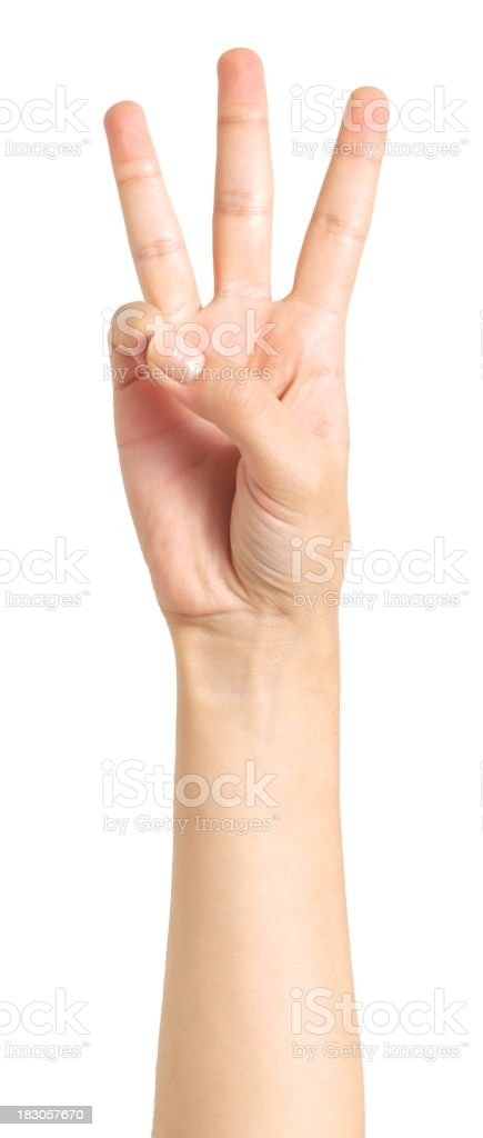 isolated hand, three stock photo