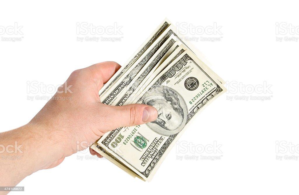 isolated hand with money stock photo