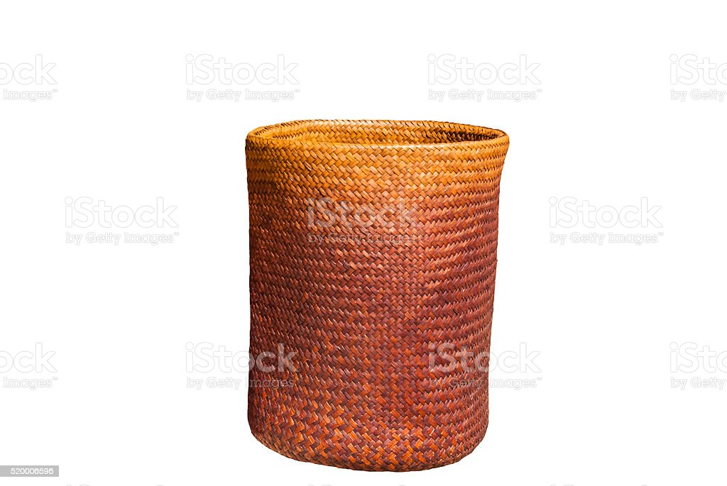 isolated handmade wicker basket stock photo