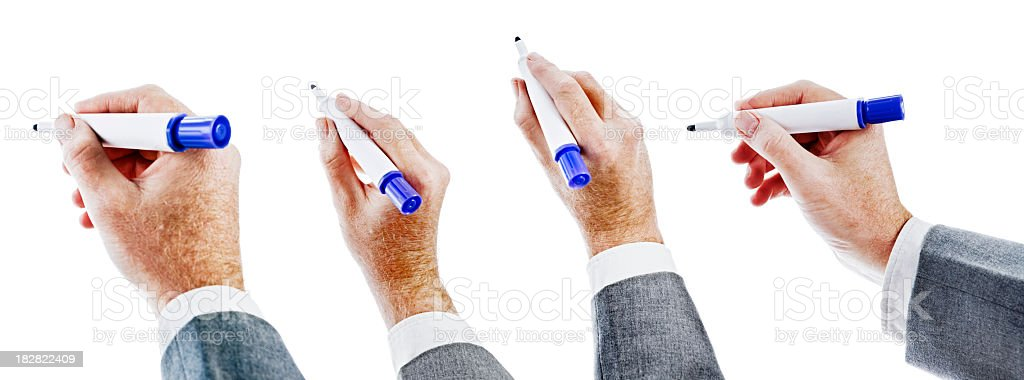 Isolated hands holding blue felt-tipped pens against white stock photo