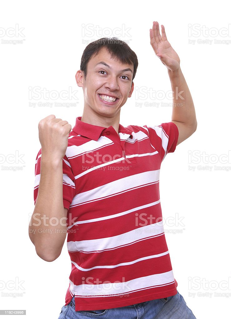 isolated happy and smiling young man in red stock photo