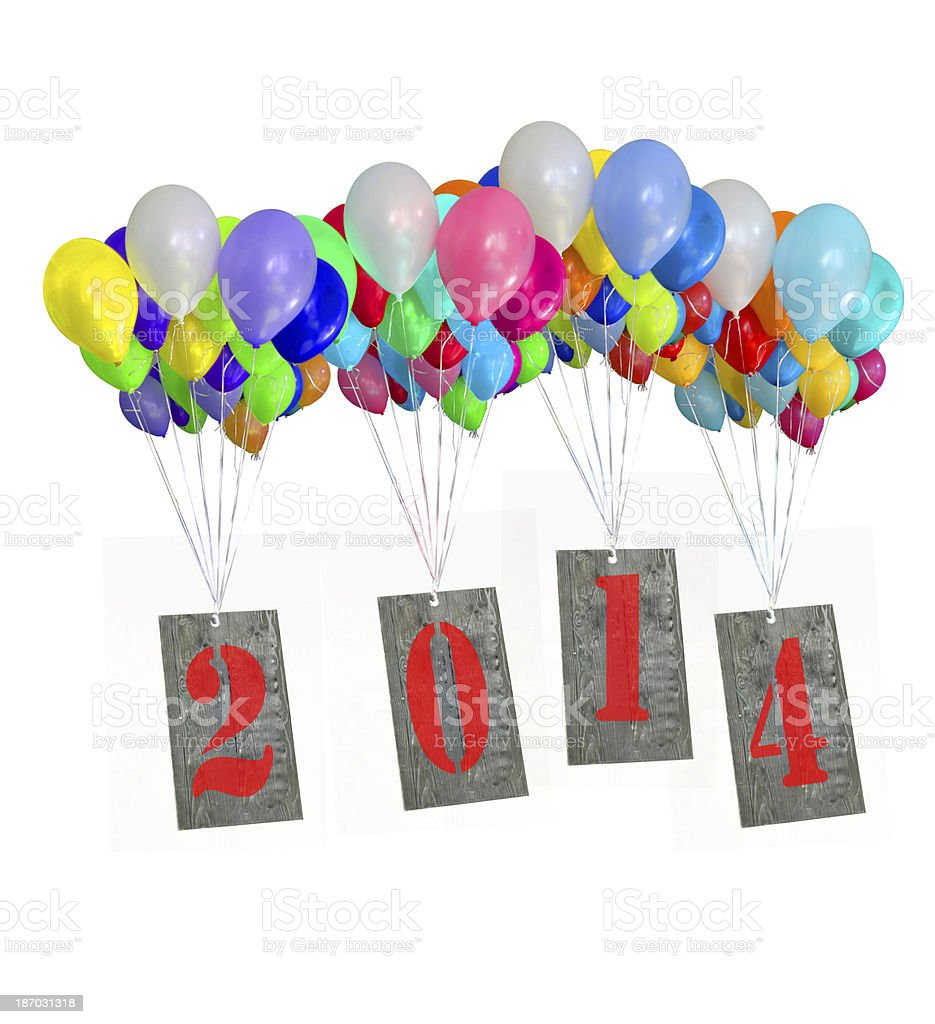 isolated Happy New Year 2014 stock photo