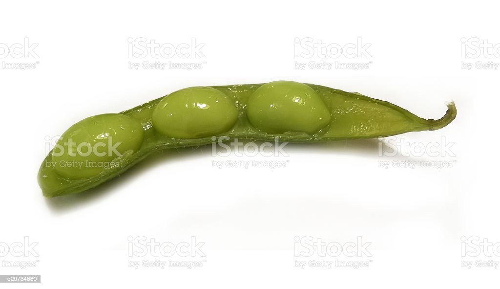 Isolated healthy fresh green soya on white background stock photo