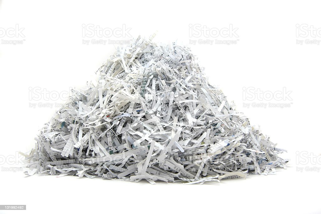 Isolated heap of shredded paper royalty-free stock photo