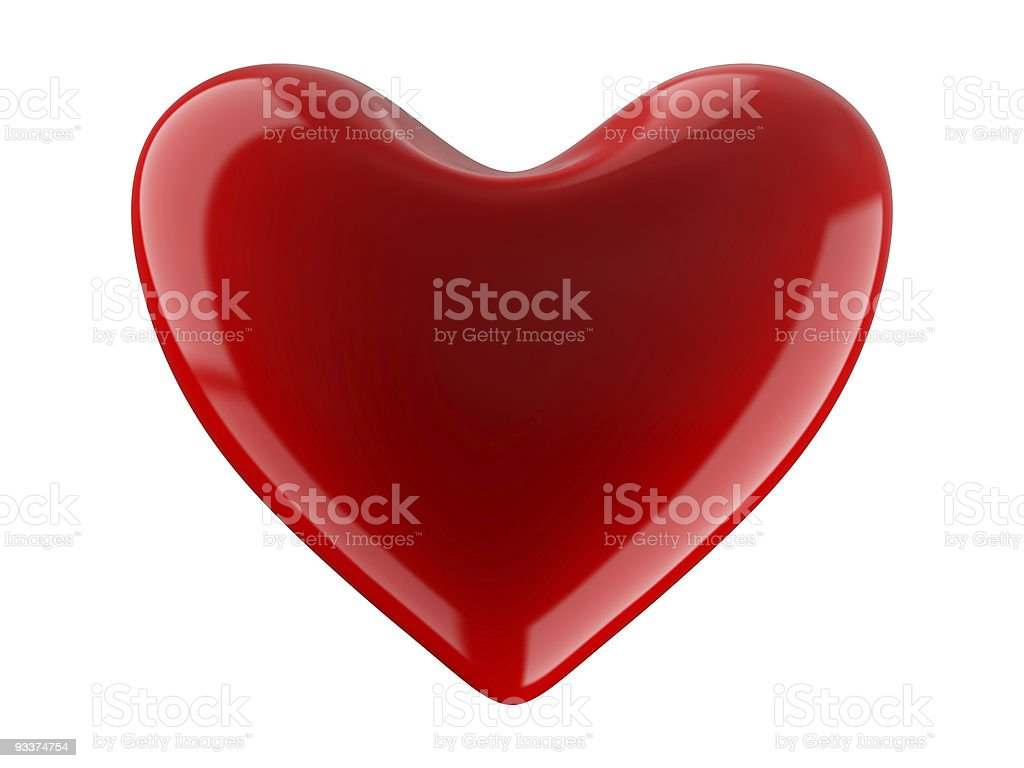 Isolated heart on white background. 3D image. royalty-free stock photo