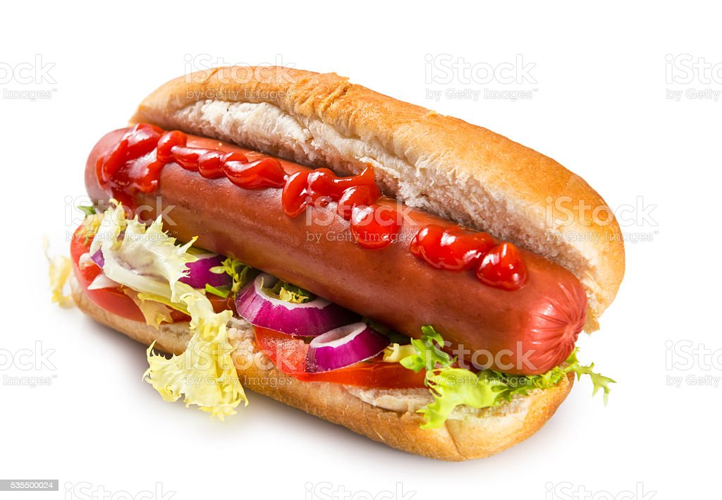 Isolated hot dog stock photo
