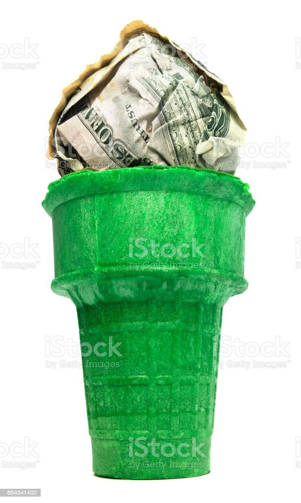 Isolated Ice Cream Sugar Cone With Cash stock photo