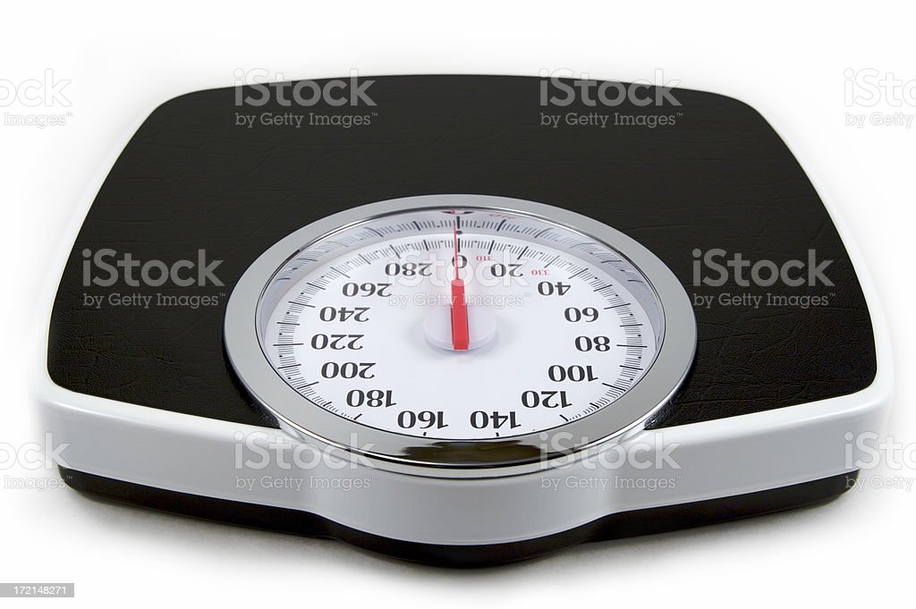 Isolated image of a black and white analog bathroom scale stock photo