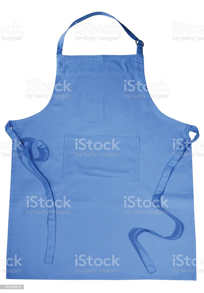 Isolated image of a blue apron on white stock photo