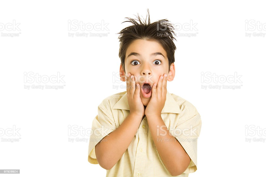 Isolated image of a boy with a surprised look on his face royalty-free stock photo