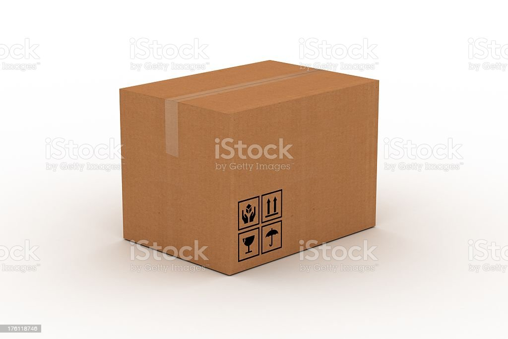 Isolated image of a cardboard box on a white background royalty-free stock photo