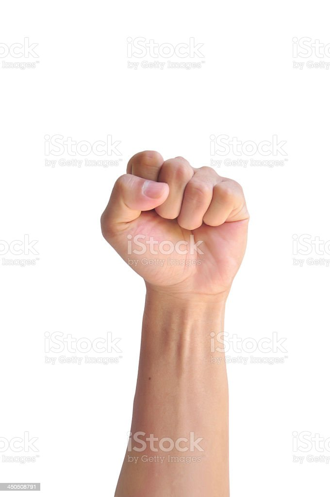 Isolated image of a fist on white stock photo