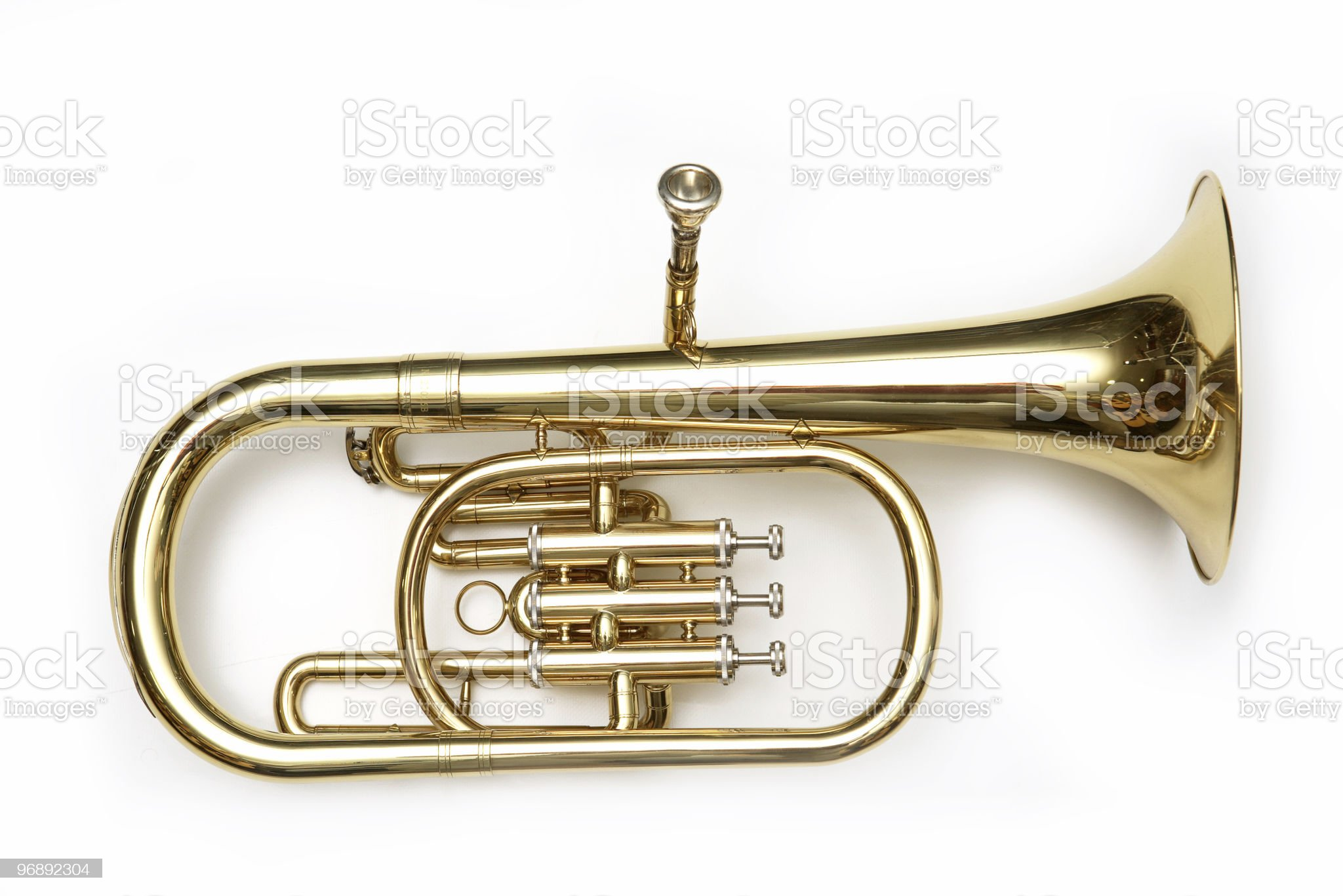 Isolated image of a gold-toned cornet royalty-free stock photo