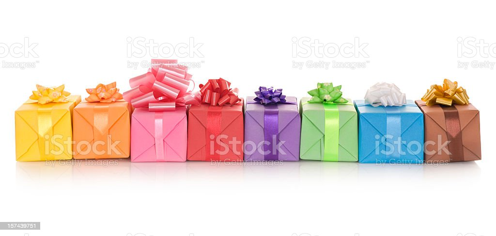 Isolated image of a number of gift boxes in a row royalty-free stock photo
