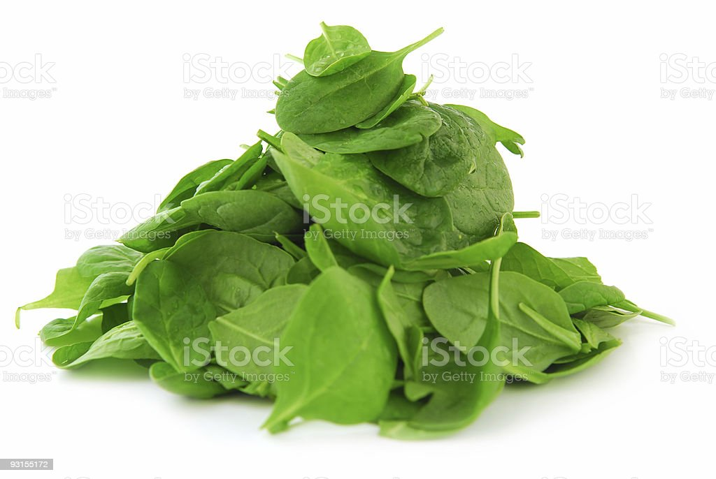 Isolated image of a pile of spinach leaves stock photo