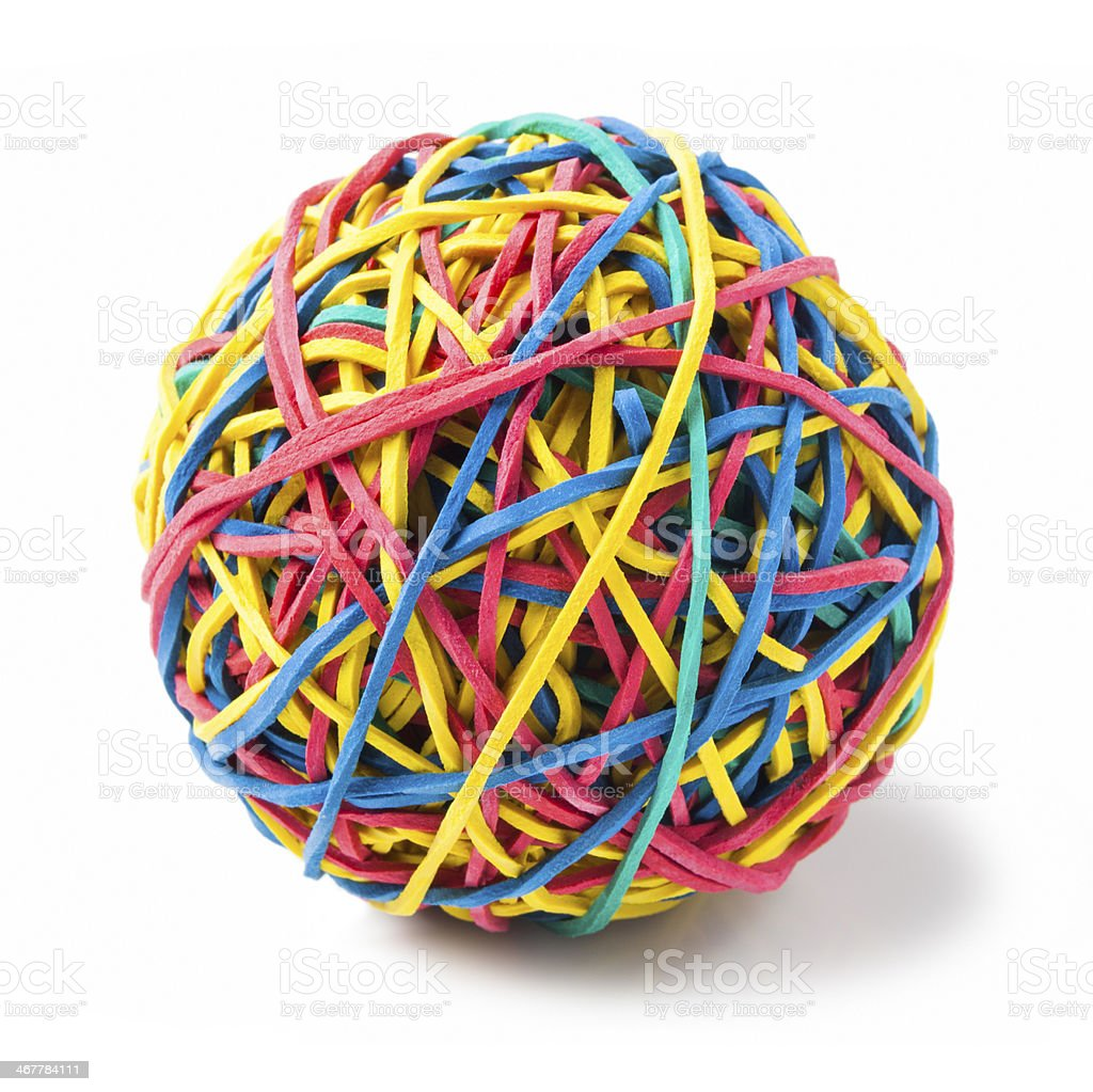 Isolated image of a rubber band ball on white stock photo