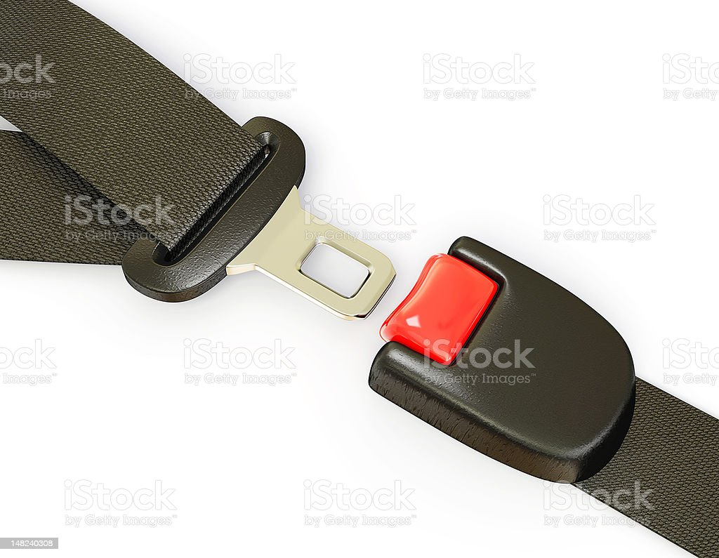 Isolated image of a seatbelt buckle stock photo